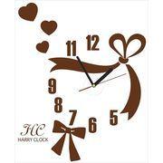 HARRY CLOCK ウォールステッカー 時計付き リボンのクロック (ribbon wall clock) ブラウン 約45×45cm