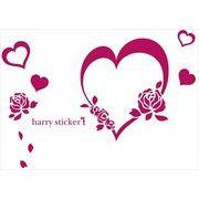 HARRY STICKER ウォールステッカー rose&heart (バラとハート) ピンク M