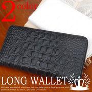 ◆牛革◆ ラウンドファスナー 長財布 アリゲーター調型押し 財布 レディース メンズ◆YW-001-13