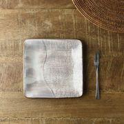 【特価品】灰釉たたらづくりの15.3cm角皿[B品][美濃焼]