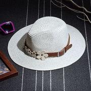 【即納】ツバ広ハット、りはずしができる飾りベルト付、クリームホワイト、ベージュの2色