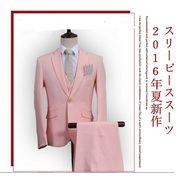スリーピース/セットアップ メンズ1ボタン無地カラースーツ カジュアル/ビジネス卒業式 結婚式M~4XL