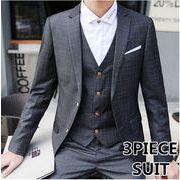 チェック柄スーツ/スリム/メンズ/3ピーススーツ/2ボタン/スリーピース/パーティー結婚式セットアップ