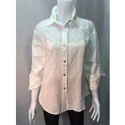 【大きいサイズ有り】涼しく快適な着心地、白色刺繍入り麻55%綿45%長袖シャツブラウス