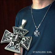 ファイアークロススカル十字架炎髑髏ペンダントトップステンレスネックレス(チェーン別売り)