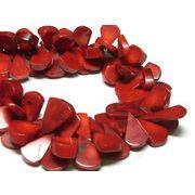 珊瑚(染色) 真紅 しずく 約20×15mm 約40cm 連販売 約粒108個