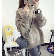 秋/冬長いニットセーター/暖かい/無地/丸ネック/ニットセーター/厚い