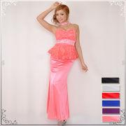 【再入荷】0222ゴージャスビーズ&ビジュー装飾ケミカルレースぺプラムロングドレス