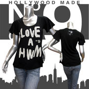 【HOLLYWOOD MADE】ハリウッドメイド★MISS LOVE A HWM★ロゴ★No9★フレアスリーブ★半袖Tシャツ ブラック