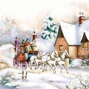 Daisy  ペーパーナプキン クリスマス 馬車 雪景色