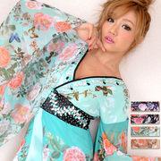 【再入荷】0507シフォンフラワー豪華ビジューロング着物ドレス 和柄 衣装  花魁 コスプレ キャバドレス
