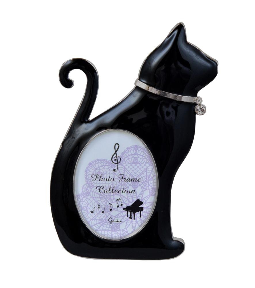 黒猫メタルフレーム(お座り) 【 ディアキャッツシリーズ 】