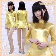 1206A■MB■送料無料■ スカート付き長袖レオタード(後ファスナー) 色:金 サイズ:M/BIG ■SK付■