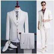 スリーピーススーツ 白 2ボタン 結婚式 メンズ スリム セットアップ二次会 ビジネス 秋冬物 ベスト付き