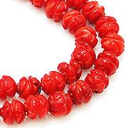 天然石 ビーズライン 卸売  /シーバンブー・海竹珊瑚 赤色・レッド デザインビーズ