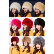 レディース大人気秋冬スタイル フォックス毛皮暖かいハット帽子/選べる9色