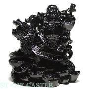 【彫刻置物】龍亀(ろんぐい)&布袋 オブシディアン(黒曜石) ※ネコポス不可※