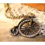 アンティーク調 クラシック自転車ネックレス 大きな車輪が可愛い ラインストーン ペンダント BA-661