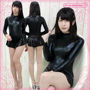■送料無料■スカート付き長袖レオタード(後ファスナー) 色:黒 サイズ:M/BIG ■SK付