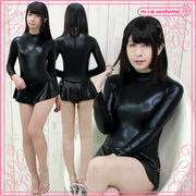 1208H■MB■送料無料■ スカート付き長袖レオタード(後ファスナー) 色:黒 サイズ:M/BIG