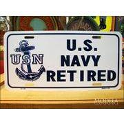 ライセンスプレート Navy 米国海軍退却