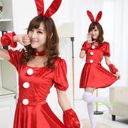 【即日出荷】前3個ボンボン 赤 バニーガール服 サンタ衣装 ハロウィン【4179/4】