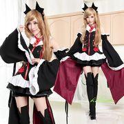 【即日出荷】黒紫 赤リボン ラブライブ風 アイドルメイド コスプレ衣装 【4895】
