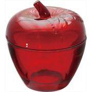 現代百貨 りんごの小物入れ ガラスジュエリーポット アップル レッド