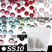 【在庫限り】●SS10●フラットバック クリスタルガラスストーン 10Gross