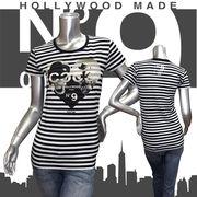 【HOLLYWOOD MADE】ハリウッドメイド★MISS HEART COCO TE★No9★ボーダー★半袖Tシャツ ホワイトXブラック
