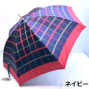 【日本製】【雨傘】【長傘】甲州産先染朱子織生地大格子柄軽量金骨ジャンプ日本製雨傘