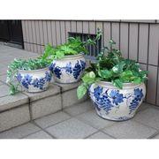 ■在庫処分■陶器植木鉢3点セット【手描きぶどう柄】