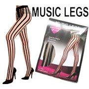 MUSIC LEGS(ミュージックレッグ)シースルーストライプ柄ストッキング 7149