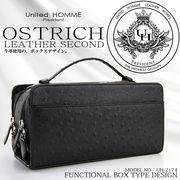 【United HOMME -President- 】 セカンドバッグメンズ 牛革オーストリッチ型押 / セカンドバッグ