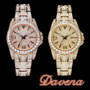 DAVENA ダヴェナ レディース 腕時計 30mm スワロフスキー ラインストーン キラキラ腕時計【60313】