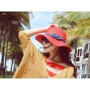 レディース麦わら帽子 ファッション 夏 ハット UV対策 つば広帽子 リボン付き 日よけ