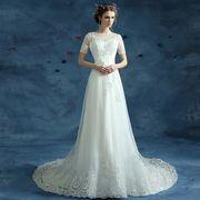 新作 上品 パーティー ウエディングドレス ロングドレス  ブライダルドレス トレーンライン 白