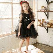 女の子 可愛い レースワンピース ラウンドネック 猫プリント 半袖 プリンセス ドレス キッズ 子供服