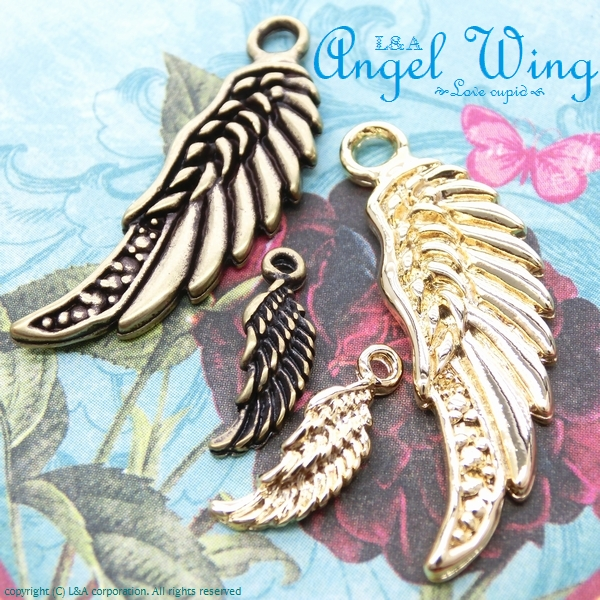 "★L&A Original Parts★かわいい♪天使の翼チャーム★K16GP&金古美★163 ""Angel Wing"""