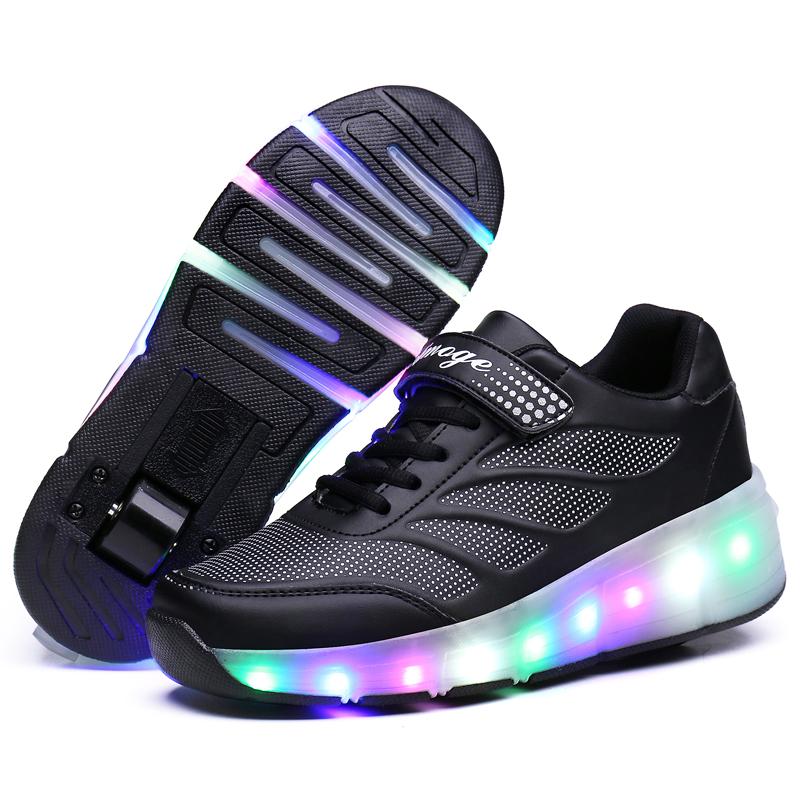 ローラーシューズ子供用靴 LEDライト付き 点滅スケートホイール付き スニーカー   男女兼用