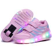 ローラーシューズ 1輪 LEDスニーカー  発光靴 ポップスニーカー 軽量 運動靴 子供用