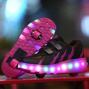 ローラーシューズ 2輪 LEDスニーカー 発光靴 ポップスニーカー軽量 運動靴 子供用