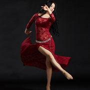 激安!ベリーダンス◆ステージ◆ラテン◆練習着◆花柄刺繍◆ワンピース◆スリットスカート+安全パンツ