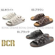 S) 【BCR】 BC-636 コルクフットベット 編み込みサンダル 全3色 メンズ