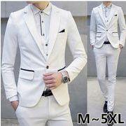 3ピーススーツ 1ボタンメンズ  スリーピースパーティー3点セットアップ白スーツ大きいサイズM~5XL