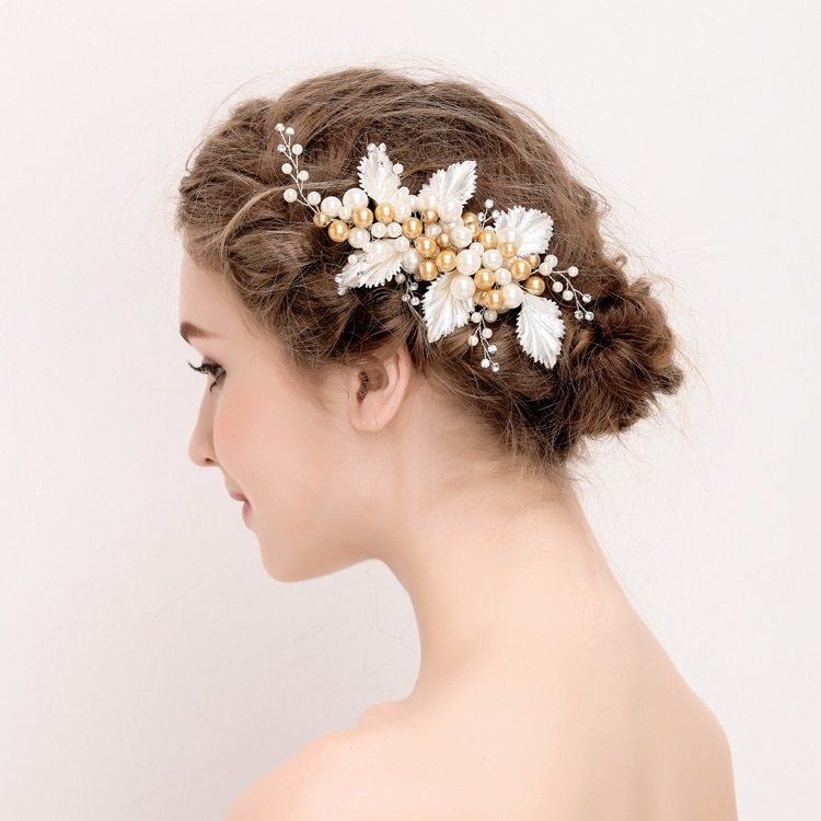723564b9ebd81 お葉っぱ金色の真珠 花嫁結婚式祝い舞台用髪留め-ヘアクリップ ヘアアクセサリーピン留め全1色
