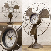 【Retro days Clock】シャビーな加工★レトロデイズクロック Electric fan 扇風機【置時計】