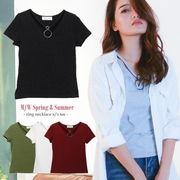 リング付きVネックTシャツ/カットソー/シンプル/アクセサリーいらず/カジュアル