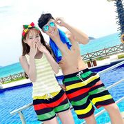 激安☆海◆ビーチ◆夏◆カップル服◆ビーチパンツ◆シャツ◆ショートパンツ◆半ズボン◆ボーダー柄