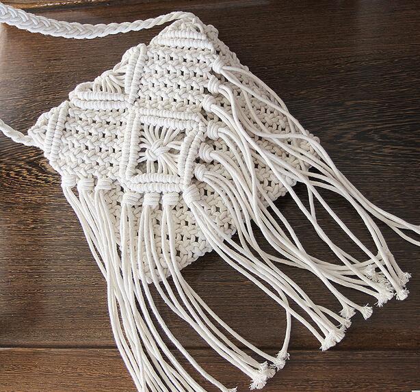 レディース チェック バッグ 編むバッグ ガコ バッグ フリンジ ビーチ 手作り ファッション雑貨